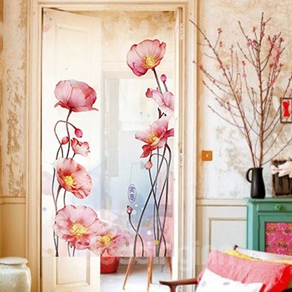 Chinese Style Ink Art Poppy Flower Doorway Sheer Curtain
