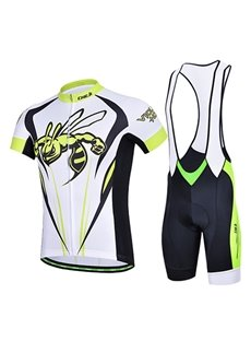 Male Yellow Hornet Breathable Full Zipper Jersey Cycling Quick-Dry Bib Shorts Suit
