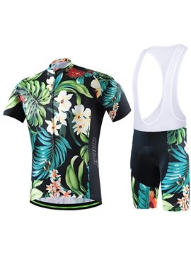 Male Vintage Tropical Flowers Breathable Short Sleeve Jersey Cycling Bib Shorts Suit