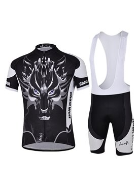Male Black Wolf Short Sleeve Jersey Quick-Dry Cycling Bib Shorts Suit