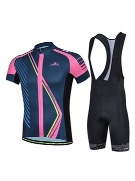 Male Purple Breathable Short Sleeve Jersey Quick-Dry Cycling Bib Shorts Suit