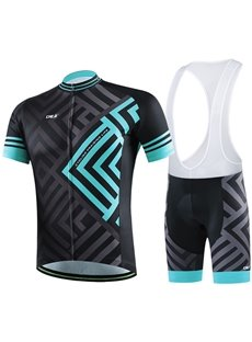 Male Blue Maze Pattern Full Zipper Jersey Quick-Dry Cycling Bib Shorts Cycling Suit