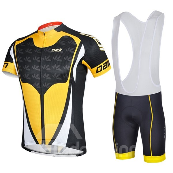 Male Yellow Breathable Full Zipper Jersey Quick-Dry Cycling Bib Shorts Cycling Suit