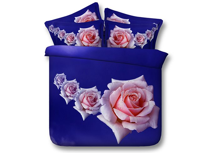 3D Pink Roses Printed Cotton 4-Piece Blue Bedding Sets/Duvet Covers