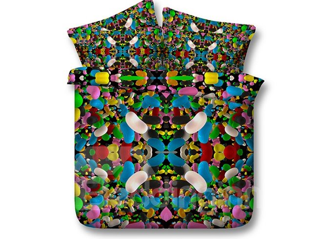 3D Colorful Candy Printed 4-Piece Bedding Sets/Duvet Covers
