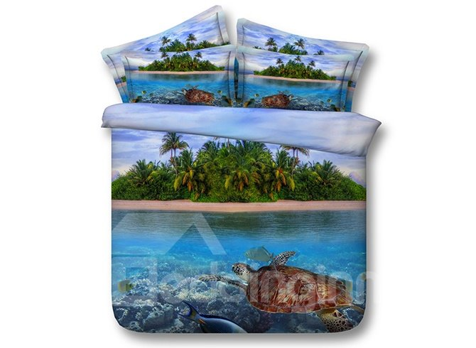 3D Turtle and Island Printed Cotton 4-Piece Bedding Sets/Duvet Covers