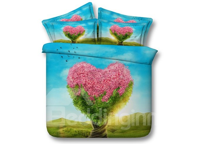 Unique Pink Heart-shaped Tree 3D Digital Printing 4-Piece Bedding Sets
