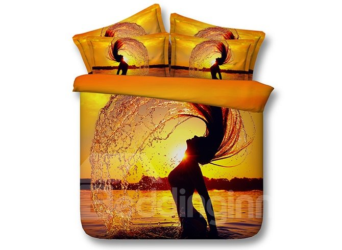 Sexy Girl at Dusk 3D Digital Printing 4-Piece Bedding Sets