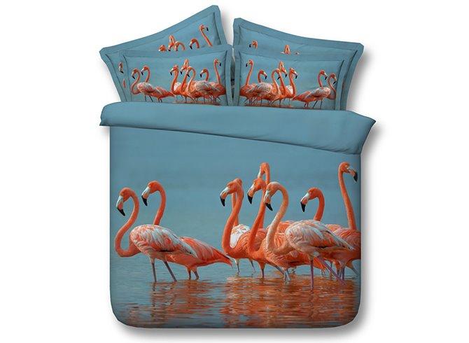 Fancy Flamingos 3D Digital Printing 4-Piece Bedding Sets