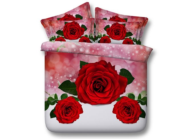 3D Red Roses Printed Cotton 4-Piece Bedding Sets/Duvet Covers