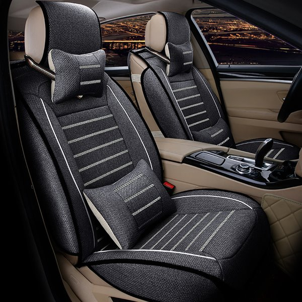 Very Smooth And Good Permeability Flax Material Charming Design Universal Car Seat Cover
