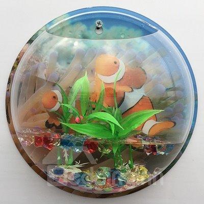 Acrylic Vivid 3D Fish and Turtle Background Wall Vase Mini Fishbowl