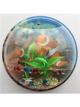 Acrylic Vivid 3D Fish and Turtle Background Wall Vase Mini Fishbowl