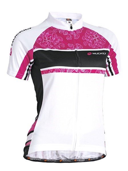 Female Blue Printed Flower Breathable Short Sleeve Jersey with Full Zipper Cycling Jersey