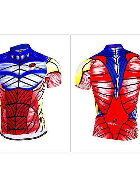 Male Printed Muscle Design Full Zipper Quick-Dry Cycling Jersey