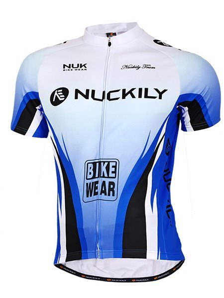 Male Progressive Shade Blue Breathable Bike Jersey Full Zipper Quick-Dry Cycling Jersey