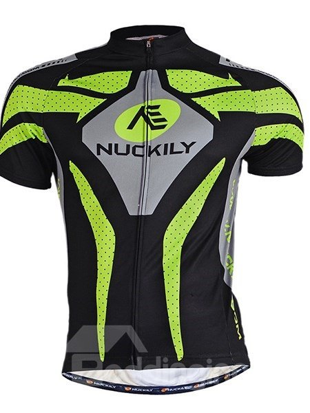 Male Black Breathable Road Bike Jersey with Reflective Stripe Quick-Dry Cycling Jersey