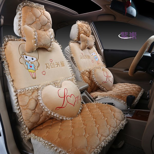 Colorful And Princess Wind Cute Beautiful Girl Cartoon Pattern Universal Car Seat Cover