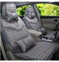 Plaid Lace Patterns With Cute Cartoons Design Universal Car Seat Covers