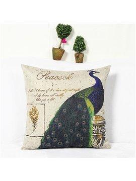 Elegant Vivid Peacock Reactive Printing Square Throw Pillow Case