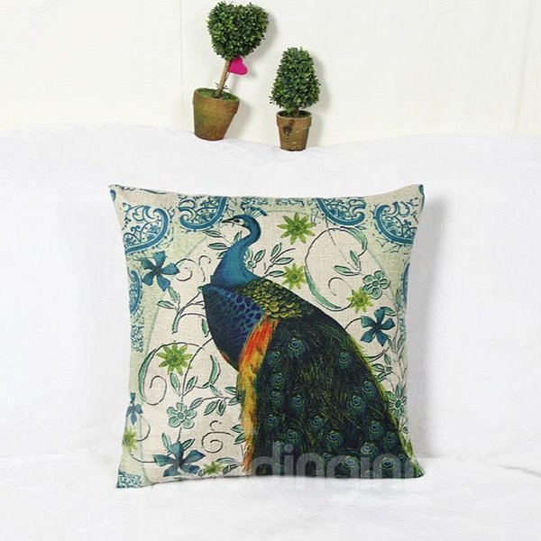 Splendid Peacock and Retro Vine Square Throw Pillow Case