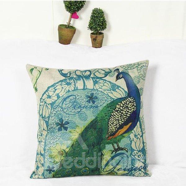 Beautiful Peacock Reactive Printing Square Throw Pillow Case