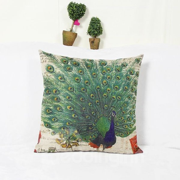 Noble Oriental Peacock Print Square Throw Pillow Case