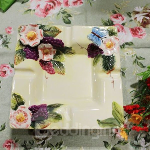 Square Ceramic Flower Pattern Fruit Plate Painted Pottery