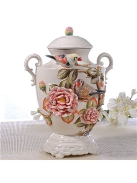Elegant Ceramic Camellia Pattern Cooky Jar Painted Pottery
