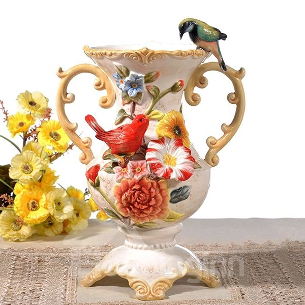 Handmade Ceramic Flower and Bird Pattern Flower Vase Painted Pottery