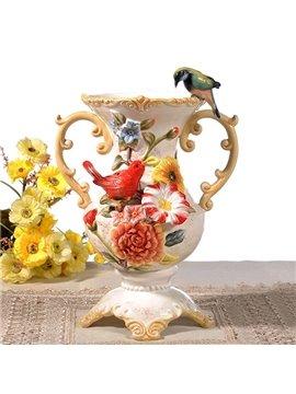 Handmade Ceramic Flower and Bird Pattern Flower Vase Painted Pottery