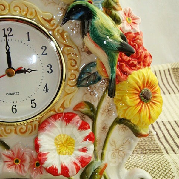 Colorful Ceramic Flower Pattern Elephant Shape Wall Clock Painted Pottery