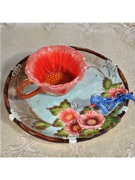 Amazing Cuckoo Pattern Cup and Plate Painted Pottery
