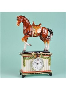 Creative Ceramic Horse Desktop Clock Painted Pottery