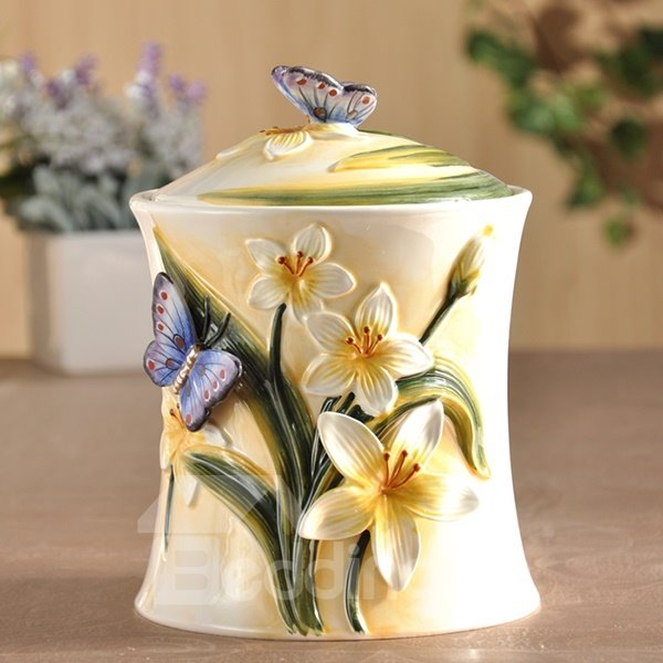 Modern Design Flower Pattern Seal Pot Painted Pottery