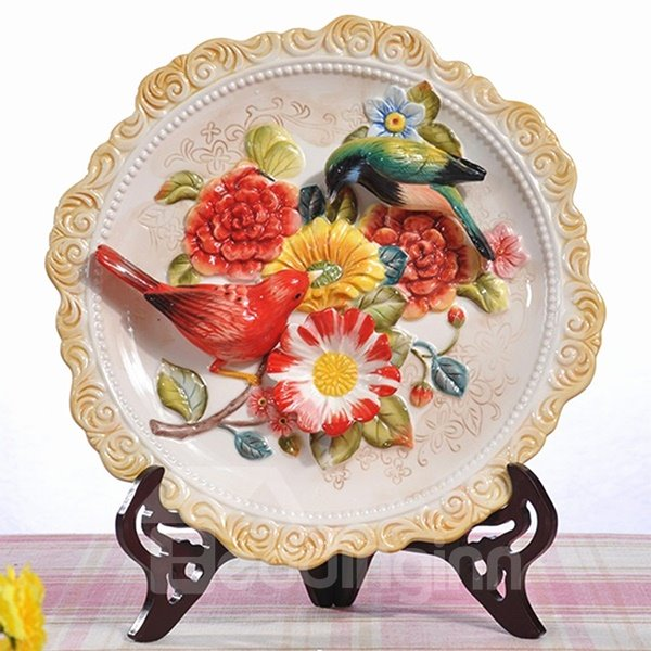 Round Ceramic Flower and Bird Pattern Plate Painted Pottery