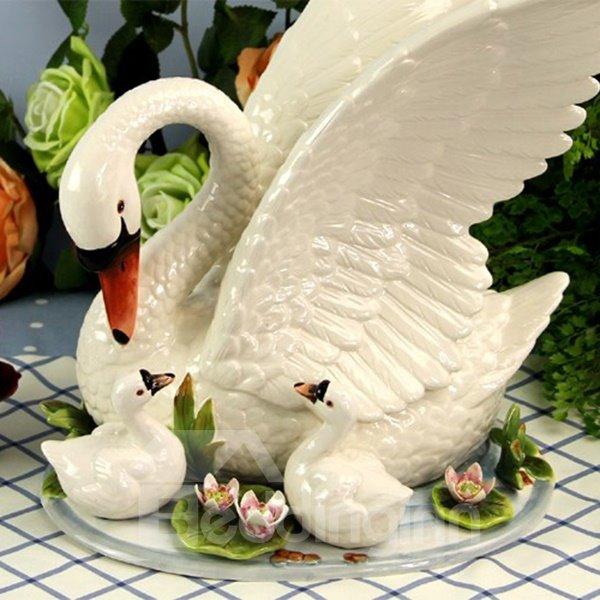 White Ceramic Swans Desktop Decoration Painted Pottery