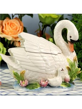 White Ceramic Swan Candy Jar Painted Pottery