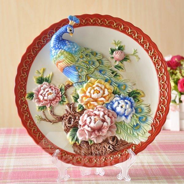 Delicate Ceramic 3D Peacock Pattern Plate Desktop Decoration Painted Pottery
