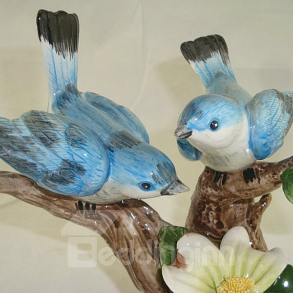 Blue Ceramic Branch Singing Birds Desktop Decoration Painted Pottery