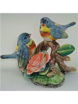 Amusing Ceramic Blue Birds and Flowers Desktop Decoration Painted Pottery