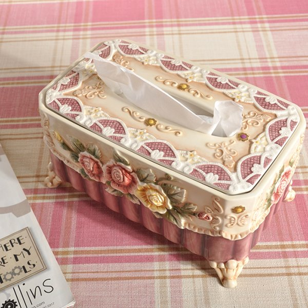 Simple Style Roses Pattern Tissue Box Painted Pottery