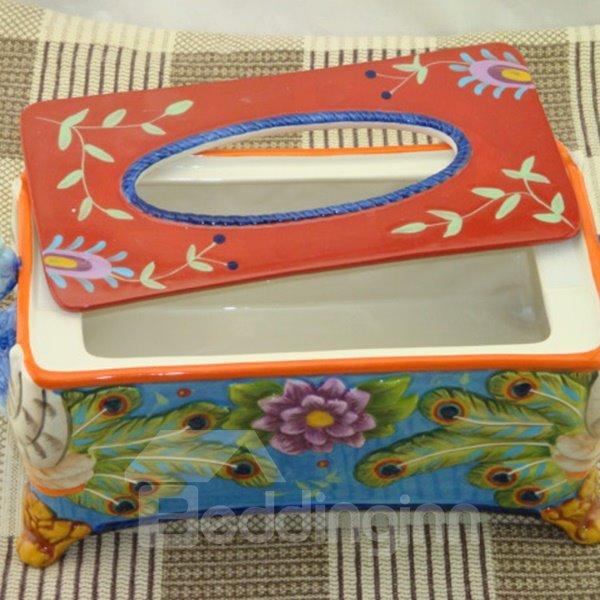 Splendid Ceramic Peacock Pattern Tissue Box Painted Pottery