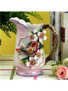 Modern Fashion Ceramic Red Bird Flower Vase Painted Pottery