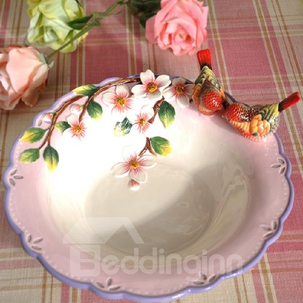 Round Ceramic Red Birds and Flowers Fruit Plate Painted Pottery