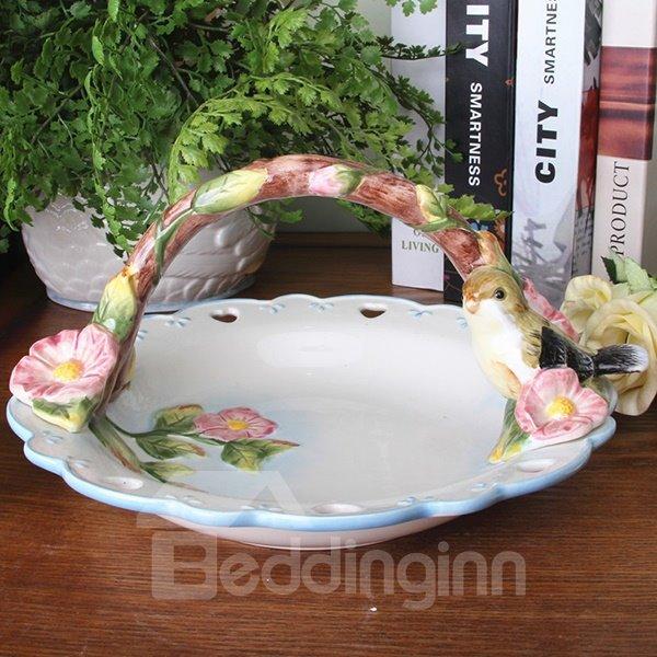Wonderful Ceramic Lovebirds Pattern Fruit Cabas Painted Pottery