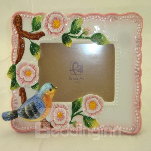 Rosa Ceramic Countryside Style Photo Frame Painted Pottery