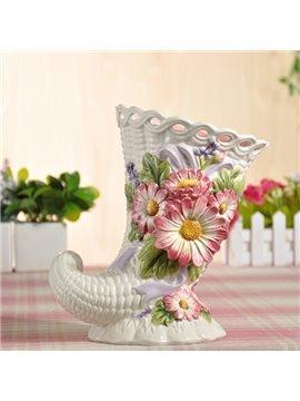 Modern Ceramic Ox Horn Shape Flower Vase Painted Pottery