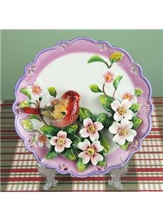 Ceramic Red Bird and Flower Pattern Plate Desktop Decoration Painted Pottery