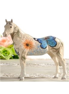 Unique Ceramic Flower and Butterfly Pattern Horse Painted Pottery